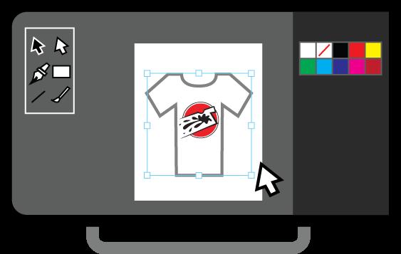 Mock-up of illustration design software user interface