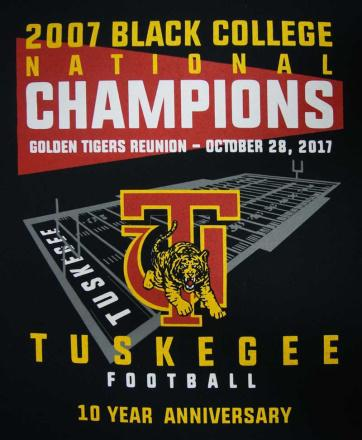 4-color screen printed black t-shirt of a football field and school logo and mascot for Tuskegee Football 10 Year Anniversary
