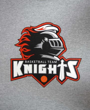 3-color screen printed heather grey t-shirt of a knight logo for Knights Basketball Team