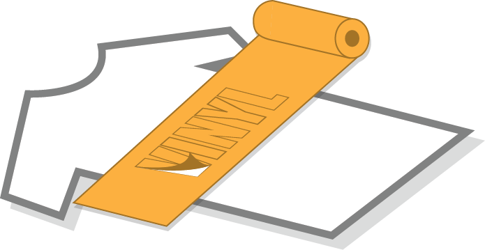 an illustration of a vinyl roll being cut and applied to a t-shirt
