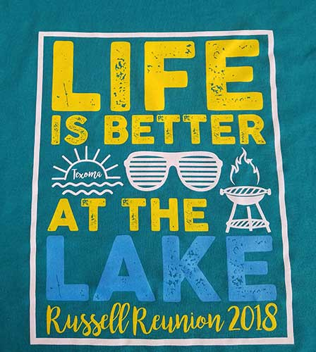 Custom family reunion shirt design - blue shirt with sunglasses, sunrise, and grill,