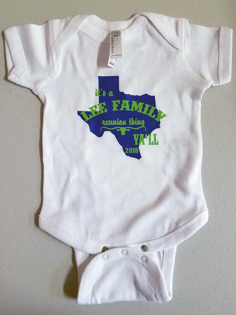 Custom family reunion shirt design - white toddler onesie with blue Texas symbol and green longhorn head and writing,