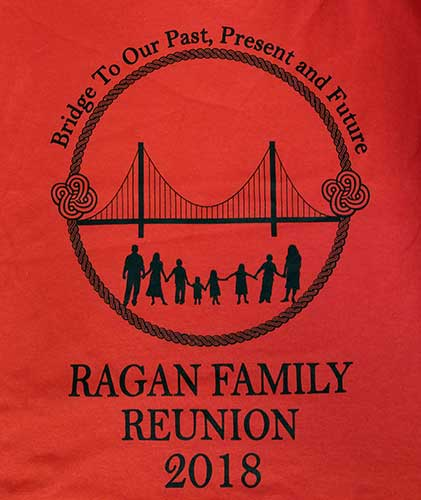 Custom family reunion shirt design - red shirt with black outline of family and a bridge inside a circle,