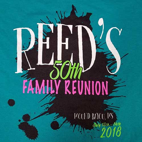 Custom family reunion shirt front design - teal shirt with black ink splatter and white, green, and pink text,