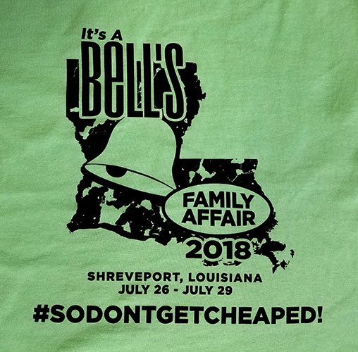 Custom family reunion shirt front design - green shirt with Louisiana state and bell symbol