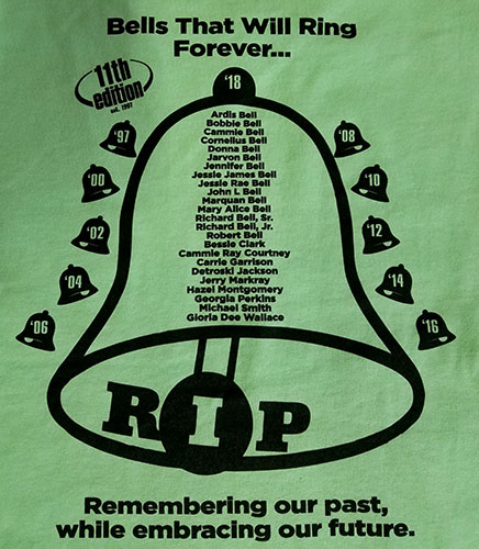 Custom family reunion back shirt design - green shirt with bell symbol with Family Names, RIP