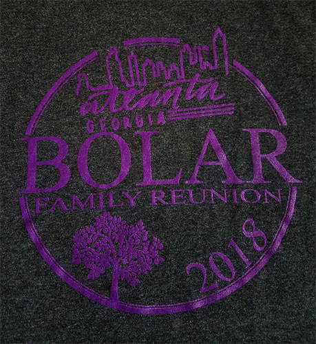 Custom family reunion shirt design - heather black shirt with purple family tree ring logo