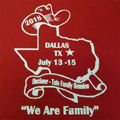 Custom family reunion shirt design - orange shirt with white outline of Texas state wearing cowboy hat,
