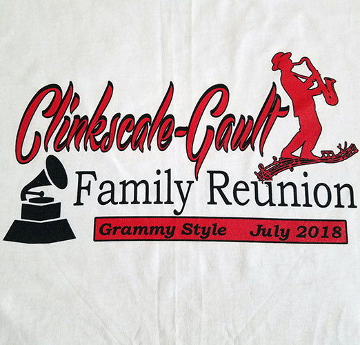 Custom family reunion shirt design - white shirt with red outline of a saxophone player, black gramophone,