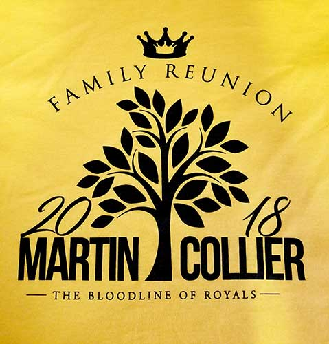 Custom family reunion shirt design - yellow shirt with black outline of family tree,