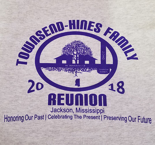 Custom family reunion shirt design - heather grey shirt with purple houses and tree with purple text,