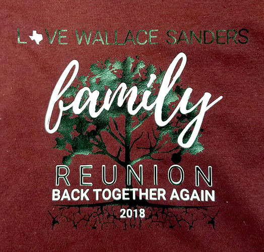 Custom family reunion shirt design - maroon shirt with green tree outline, white text,