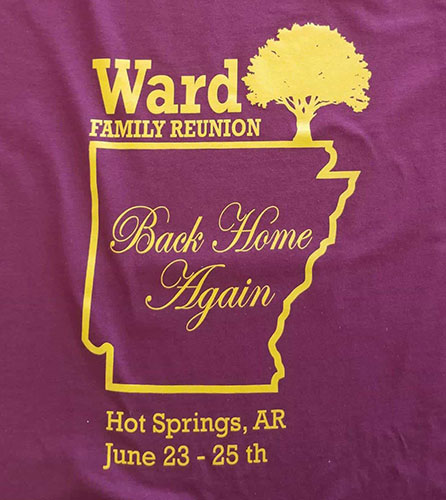 Custom family reunion shirt design - purple shirt with yellow outline of Arkansas and a tree,