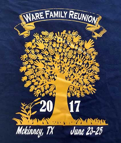 Custom family reunion shirt design - navy blue shirt with yellow tree with hands making up its leaves, white text,