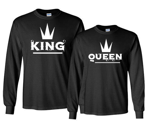 custom matching Valentine's Day t-shirts - a pair of black sweatshirts saying