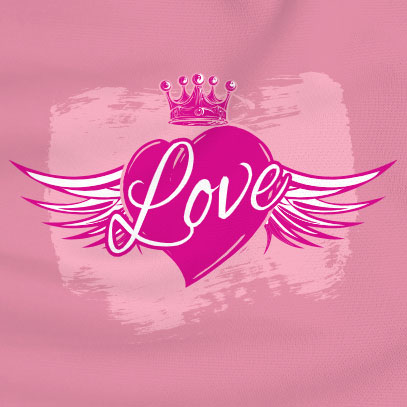 custom Valentine's Day t-shirt - a pink t-shirt with a heart sprouting angel wings and a crown with the word