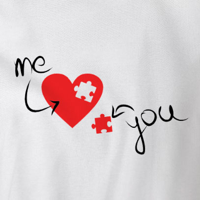 custom Valentine's Day t-shirt - a white t-shirt with a heart missing a puzzle piece. The heart is labeled