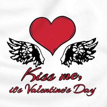 custom Valentine's Day t-shirt - a white t-shirt with a heart and wings saying