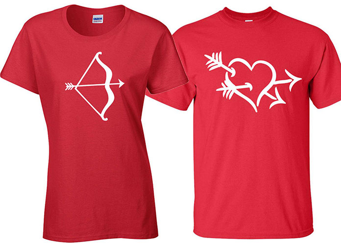 custom matching Valentine's Day t-shirt - a pair of red t-shirts with a bow on one shirt and a heart shot with Cupid arrows on the other