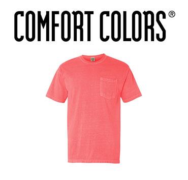 Pink Comfort Colors brand pocket t-shirt