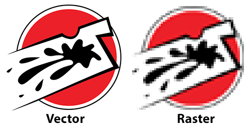 A vector graphic vs a raster graphic