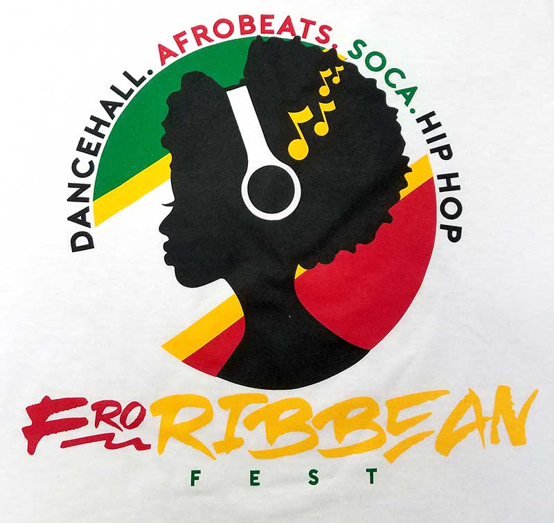 custom white shirt - 4-color green, red, yellow, and black screen printed Froribbean design