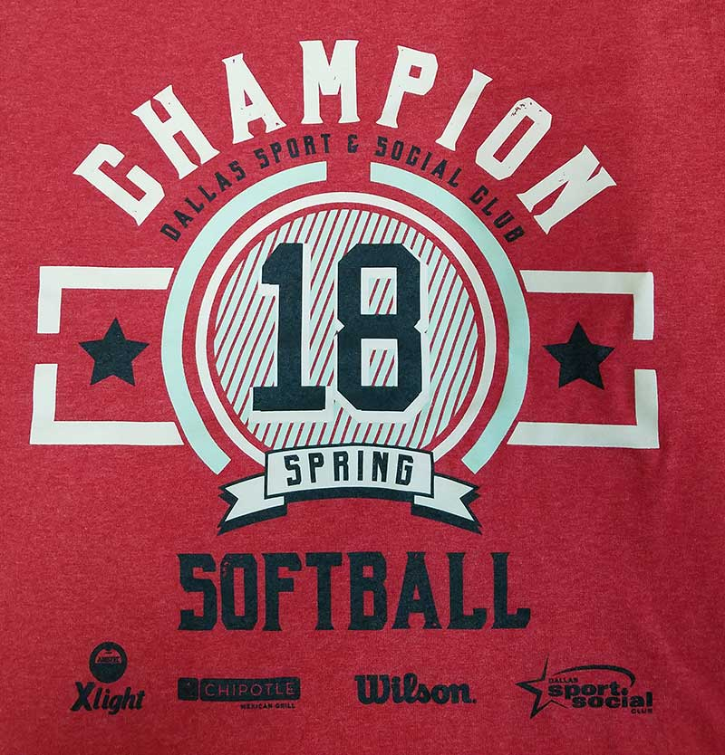 custom red shirt - Champion Softball