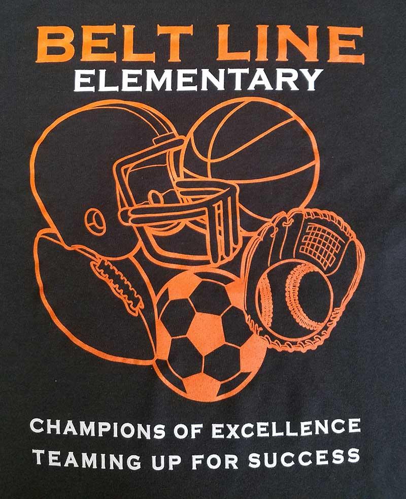 custom black shirt with orange and white text - sports teams - Belt Line Elementary