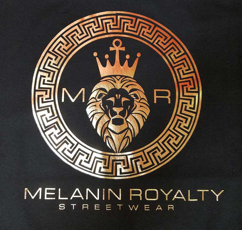 custom black t-shirt with metallic gold lion print