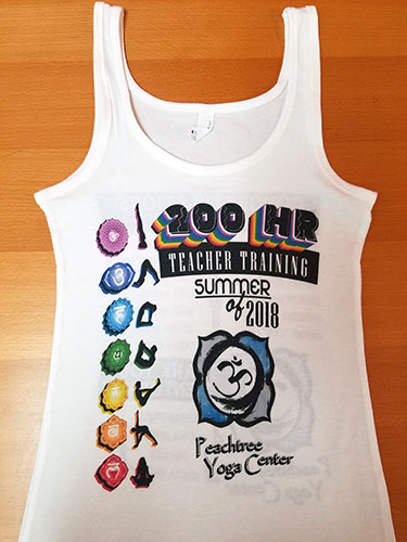 custom white yoga tank top with full-color direct to garment print