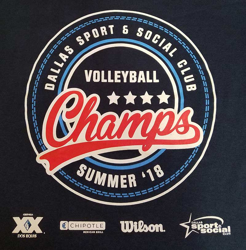 custom black t-shirt - volleyball champs design