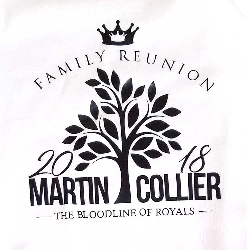 custom white t-shirt with black print - family reunion tree design
