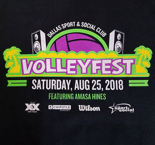 custom black t-shirt - 4-color screen printed volleyball design