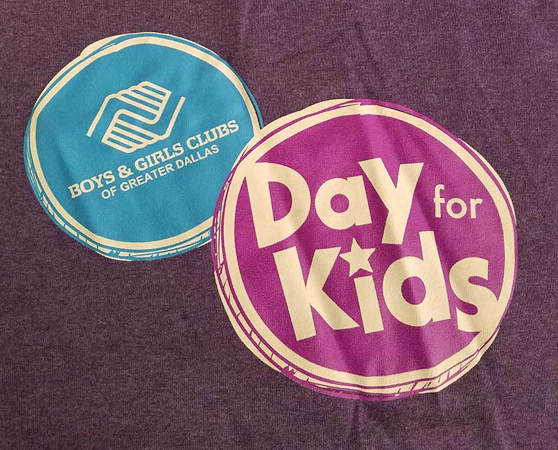 custom purple shirt with blue, purple, and white print - Boys & Girls Club design