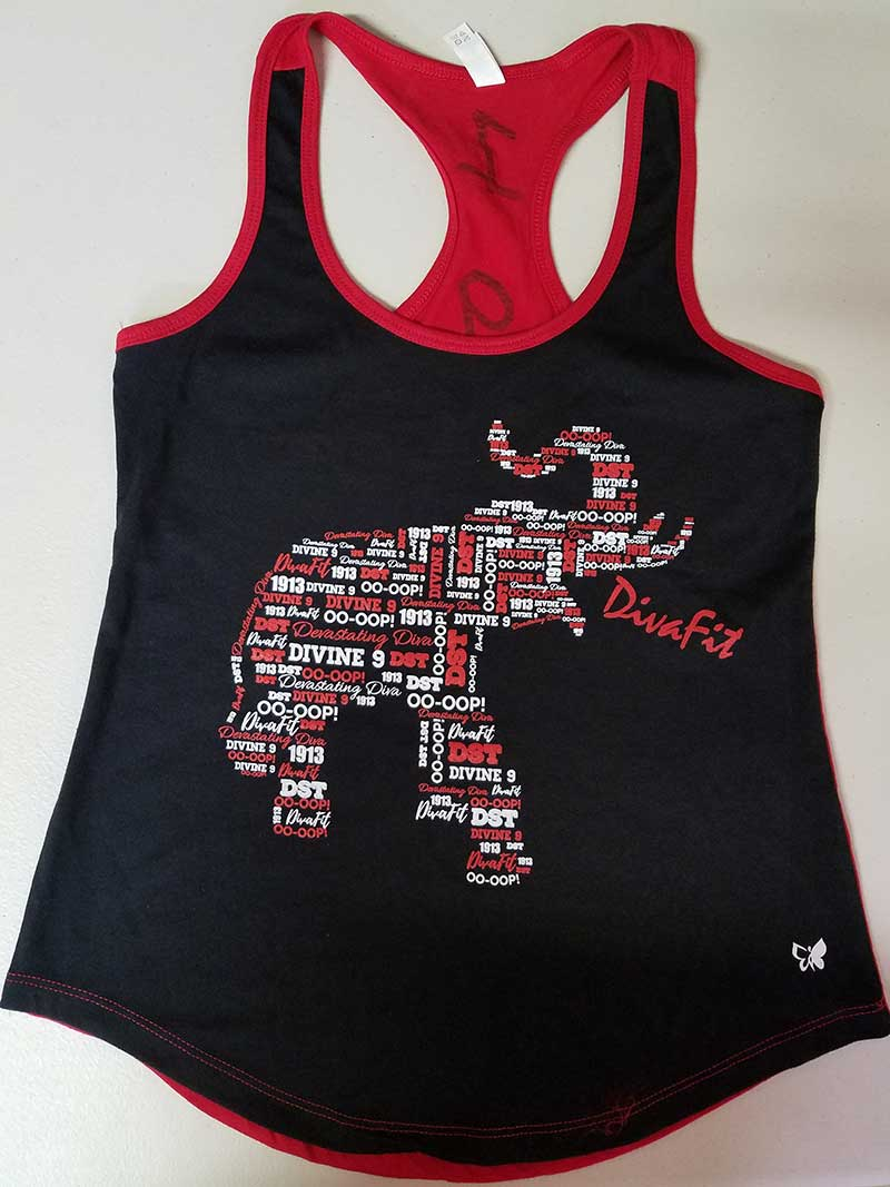 custom black and red tank top - 2-color vinyl print - red and white elephant