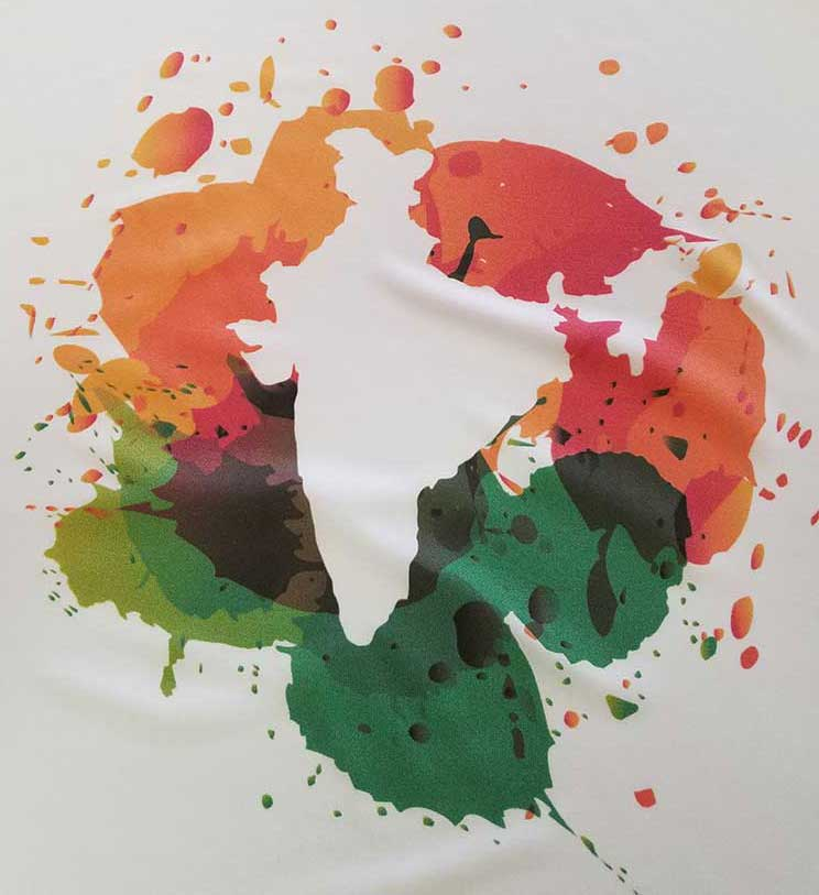 custom white t-shirt - full-color DTG print - India paint splatter design