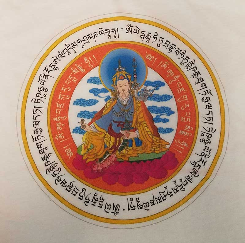 custom white shirt - full-color DTG print - Buddhist guru design