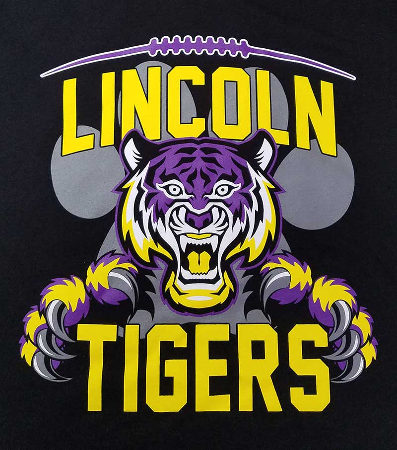custom black t-shirt - full-color DTG print - Lincoln Tigers