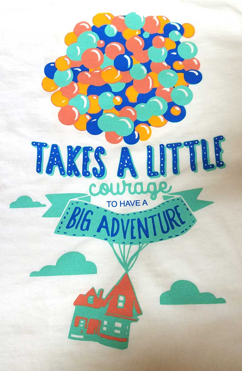 custom white shirt - 4-color blue, orange, green, and yellow screen printed balloon design