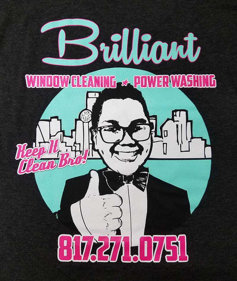 custom black t-shirt - 3-color blue, pink, and white screen printed window washer design