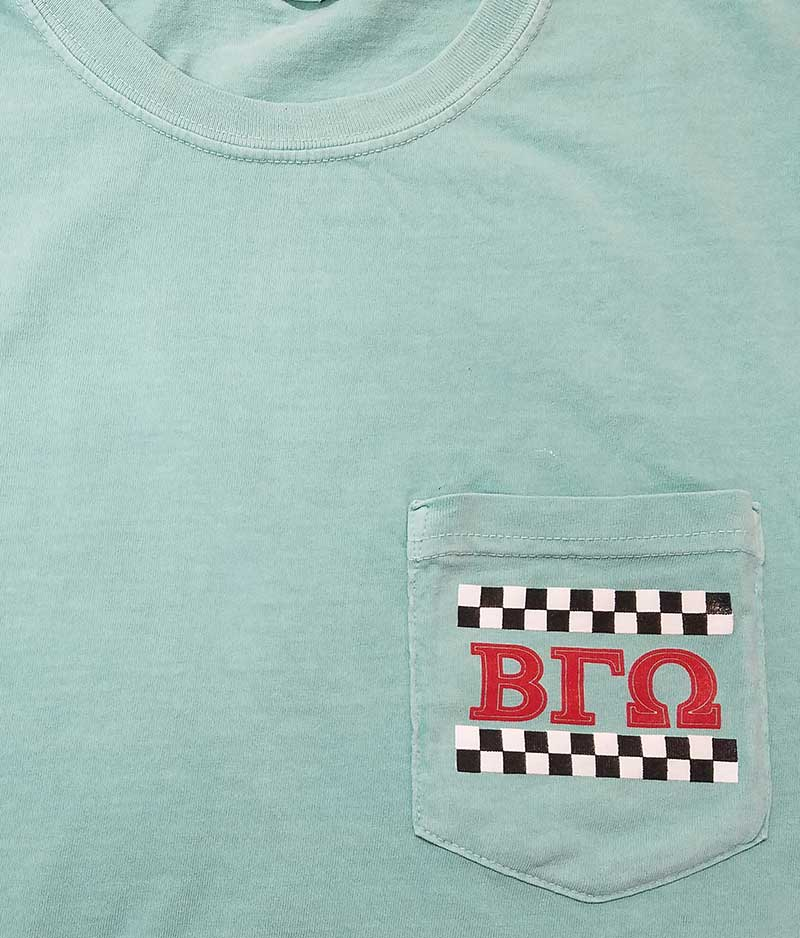 custom mint green shirt - 3-color black, white, and red Greek life screen printed design on t-shirt pocket