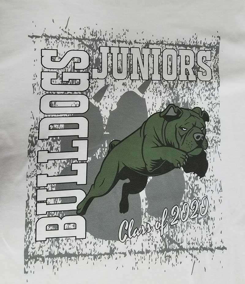 custom white t-shirt - full-color DTG print - Bulldogs school mascot design