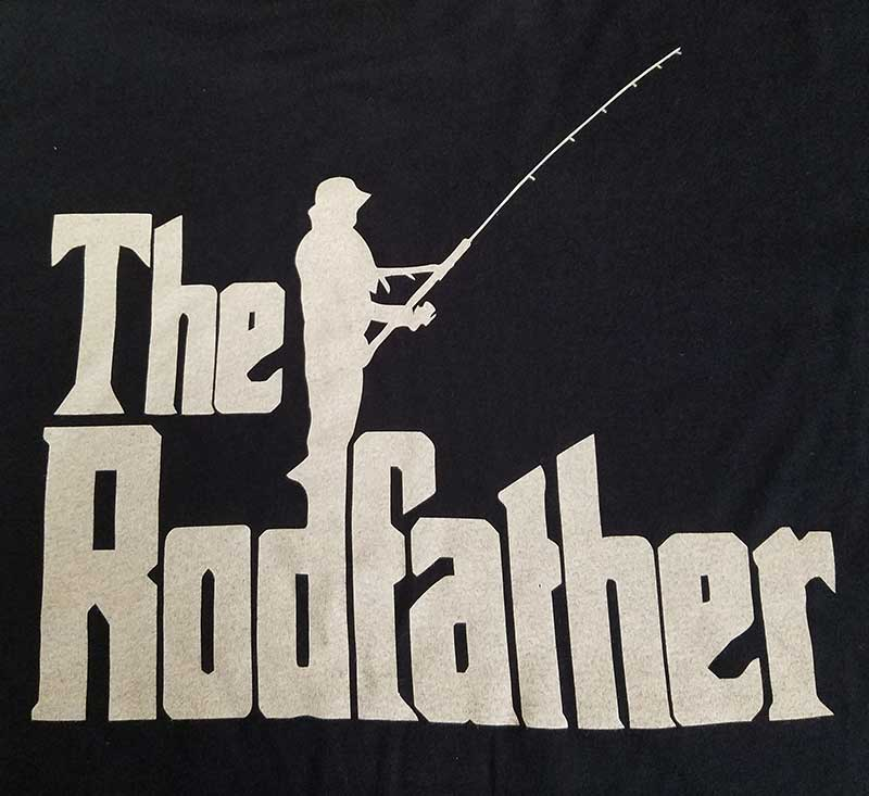 custom black shirt - 1-color white screen printed fisherman design