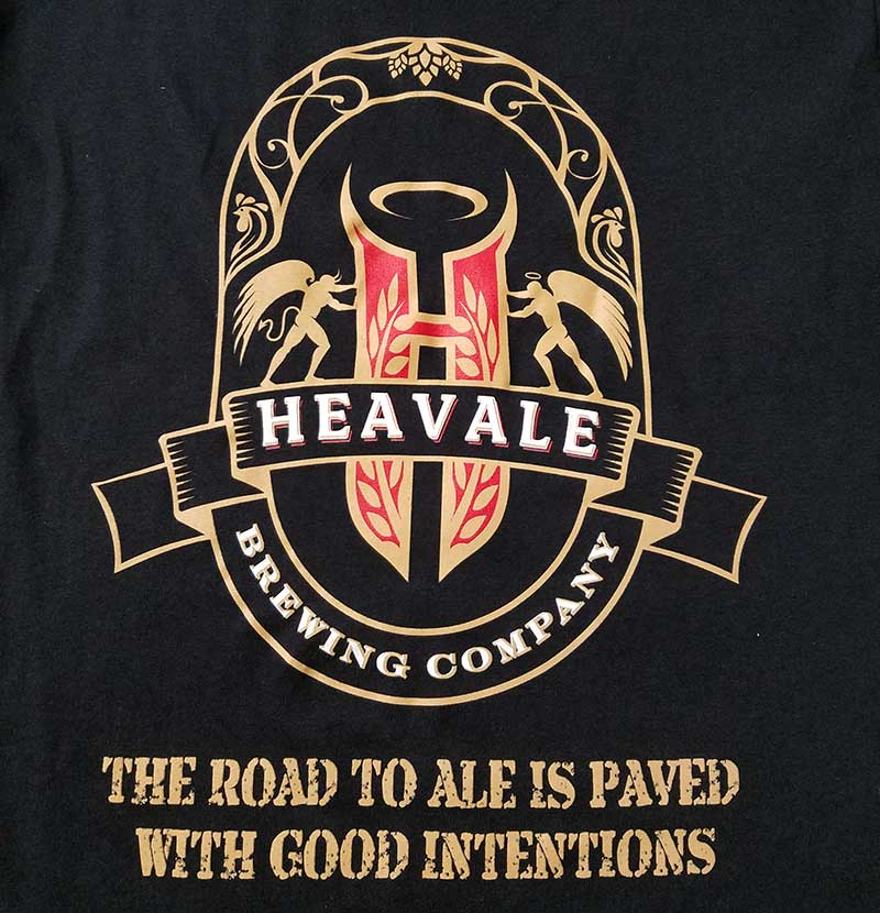 custom black shirt - 3-color gold,  white, and red screen printed ale brewing company design