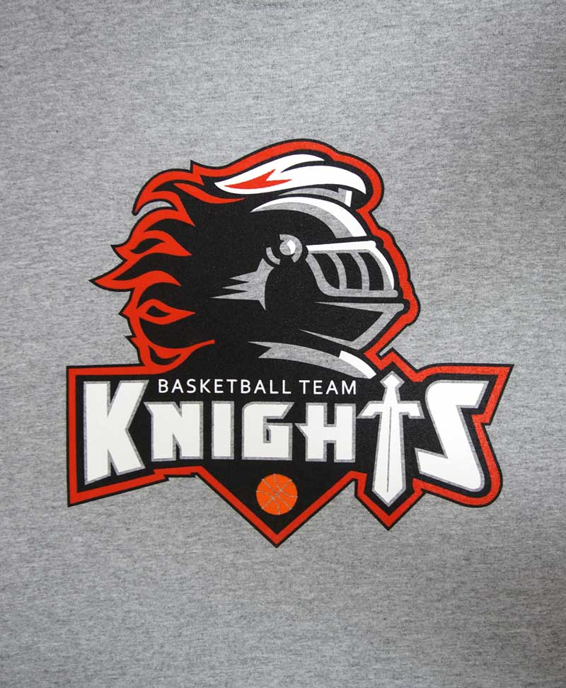 custom heather grey shirt - 4-color black, white, red, and orange screen printed knight basketball mascot design